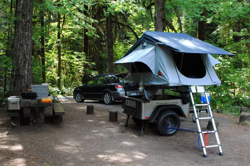 trailer rack compact camping trailer Jeep trailer by Dinoot Compact Camping Concepts