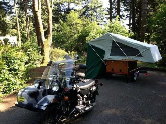 Compact Camping Trailers - Motorcycle Compact Camping Trailer Explorer Box and MOAB Folding Tent