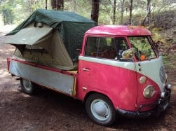 Compact Camping Trailers - Roof Top Tent on Volkswagon Van Pickup Truck