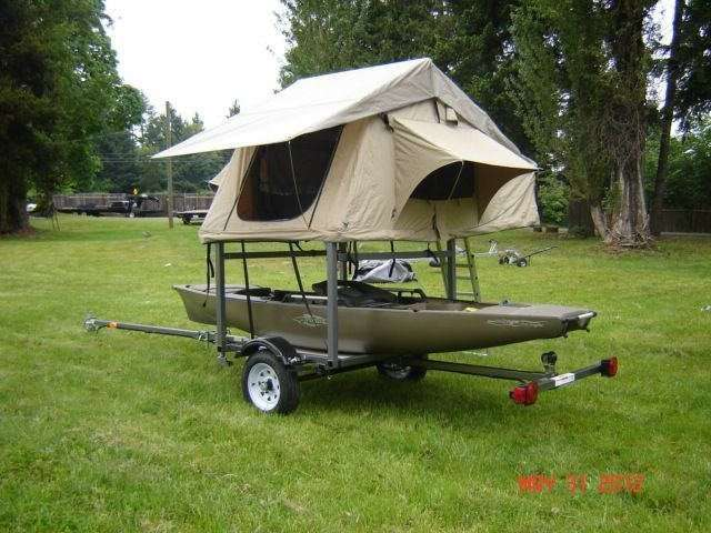 Roof top Tent on Kayak Trailer