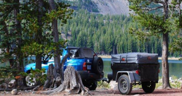 Compact Camping Trailers - Jeep Trailer with Roof Top Tent by Dinoot Trailers