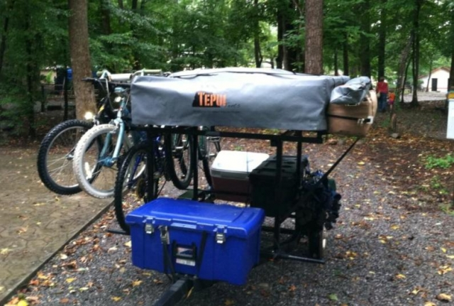 Bike Rack Compact Camping Trailer with Roof Top Tent