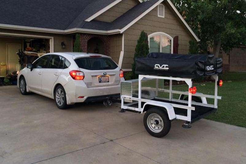 Trailer Rack white Subaru Roof Top Tent